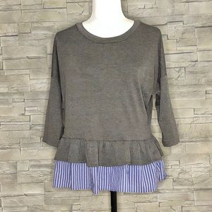 Design Lab grey top with faux striped shirt